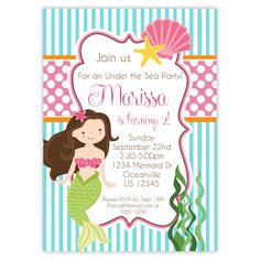 Mermaid Invitation - Turquoise Blue Stripes and Pink Polka Dots, Girl Mermaid Personalized Birthday Party Invite - a Digital Printable File by PurpleBerryInk on Etsy https://www.etsy.com/listing/160641327/mermaid-invitation-turquoise-blue