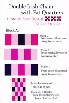 Old Red Barn Co.: A Double Irish Chain Quilt From Fat Quarters - Tutorial & Giveaway