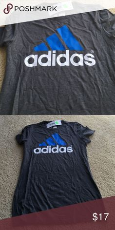 NWT adidas t shirt Brand new with tags. The go to shirt. White and blue print. Fitted and cute. adidas Tops Tees - Short Sleeve