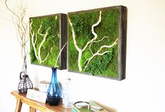 "Plant Painting- No Care Green Wall Art. Real Preserved Plants. 1- 24""x24"""