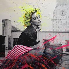 """Painting (acrylic, spray-paint on canvas) """"Madonna"""" (2013) by Alec Monopoly. Photography by Richard Corman."""