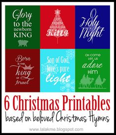 Six Christmas Printables based on beloved Christmas Carols: O Holy Night, Silent Night, Joy to the World, Hark the Herald Angels Sing, Oh Come, All Ye Faithful, and The First Noel.