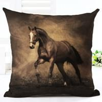 Decorative Colorful Horse Pillow Cover