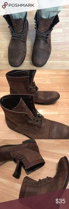 "Kenneth Cole Dark Brown Leather Boots Tall 6"" boots! Fashionable design looks good laced to the top or open tongued. Thinner leather makes them appropriate for all seasons. Size: 13 Style: Boots Color: Dark Brown Fabric: Soft Leather Condition:  Great used condition. No rips, stains, tears, or discolorations. Medium wear on soles but still lots of life left.  Thank you for viewing. Offers welcome. Kenneth Cole Shoes Boots"