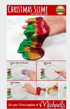 This easy DIY Christmas Slime is perfect for the kids and family to get crafty this holiday season! Put it in a jar and voila - a perfect handmade stocking stuffer! Diy Crafts For Teens, Save On Crafts, Easy Diy Crafts, Handmade Crafts, Simple Crafts, Craft Ideas, Kids Holiday Crafts, Glue Crafts, Cardboard Crafts