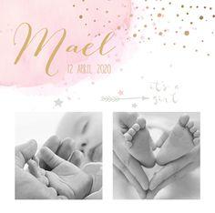 lovz.nl | watercolour foto geboortekaartjes meisje met goud look