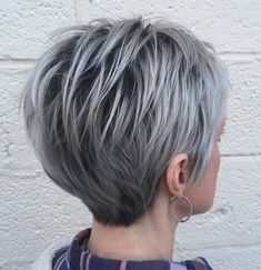 Long Silver Pixie With Black Roots