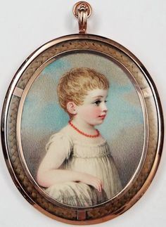 If you look closely, in the frame you'll see a small braid of blonde hair. To whom it belongs, I do not know. I just find it interesting & very pretty. === Portrait Miniature of Anna Louisa Blake, signed & dated 1803 - Adam Buck Miniature Portraits, Miniature Paintings, John Smith, Irish Painters, Irish Art, Renaissance, Portrait Art, Folk Art, Miniatures