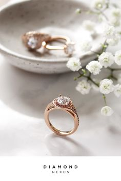 Trending now: Rose gold and halos. Combined, they're divine. Add eco/ethically-sourced stones and it truly becomes a piece to be proud of. Pictured: Athens engagement ring with Contemporary Nexus Diamonds.
