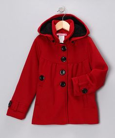 Take a look at this Cuties Fashions Red Hooded Coat - Girls by Blow-Out on #zulily today!