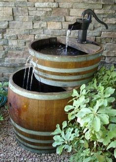 Wine barrel fountain, the backyard neeeeeeeds this. Barrel Projects, Outdoor Projects, Water Garden, Lawn And Garden, Barrel Fountain, Wine Barrel Furniture, Garden Fountains, Water Fountains, Ideias Diy