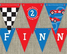 Vintage Race Car Party Bunting Flags Kid's party by SladeStudios, $10.00