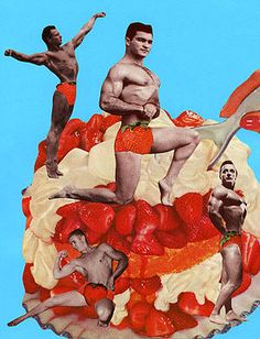 Strawberry Beefcake, 2005.  Collage by Angelica Paez