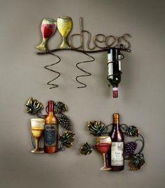 Wine Wall Decor - Tripar International, Inc. Wine Theme Kitchen, Grape Kitchen Decor, Vintage Kitchen Decor, Kitchen Ideas, Bistro Kitchen, Kitchen Decorations, Kitchen Design, Wine Bottle Wall, Wine Rack Wall