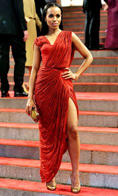 Kerry Washington in a scarlet Thakoon for Gap draped gown with a thigh-high slit at the Met Costume Institute Gala in New York City 2010