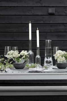 Taste Of Nature, Scandinavian Home, Beach Cottages, A Table, Outdoor Living, Table Settings, Entertaining, Spring, Black Interiors