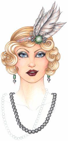 Themed Weddings: The Roaring Twenties #CopicMarker, #JenHancock, #Gatsby, #GatsbyWedding, #FashionIllustration