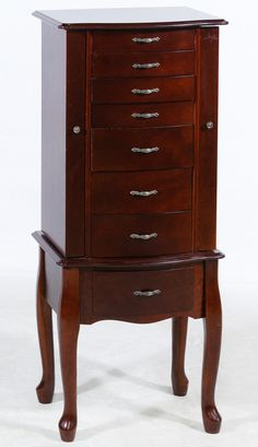 Lot 551: Cherry Stained Floor Standing Jewelry Box; Having Eight Drawers,  Lift Up