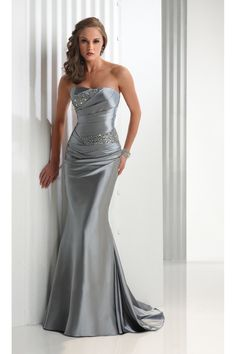 Mermaid Strapless Sweep/Brush Train Elastic Satin Beadings Prom Dresses