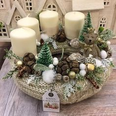 Christmas Wood Crafts, Noel Christmas, Rustic Christmas, Winter Christmas, Handmade Christmas, Christmas Wreaths, Advent Wreath Candles, Christmas Arrangements, Xmas Decorations
