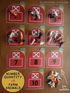Number Quantity With Farm Animals - This activity is a fun way for children to exhibit number sense. It incorporates number quantity, counting, correspondence, and number recognition. Farm Animals Preschool, Numbers Preschool, Preschool Themes, Preschool Crafts, Preschool Printables, 1 To 1 Correspondence Preschool, Reptiles Preschool, Toddler Preschool, Diy Crafts