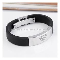 Stainless Steel Superman Logo Black Rubber Wristband Bangle Bracelet... ❤ liked on Polyvore