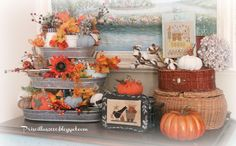 Priscillas: Stitchy Fall Vignettes in the Family Room