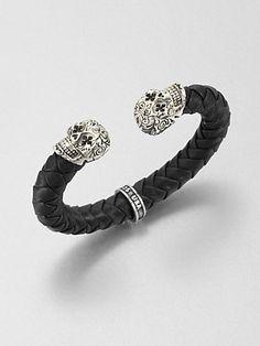 King Baby Studio - Leather and Sterling Silver Skull Bracelet - Saks.com
