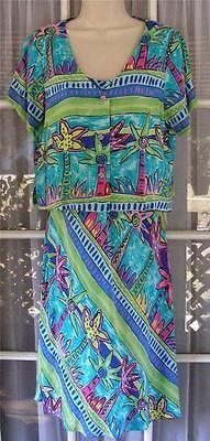 Palm Bay Hawaii Women's Medium Palm Tree Print Rayon Sundress & Short Jacket