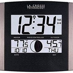 La Crosse Technology Digital Atomic Clock (outdoor Temperature; Brushed Steel Finish)