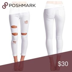 Sexy White Ripped Jeans Please do not purchase this listing… just leave a comment below with the size you need and I will create a listing for you! :)                 Distressed Skinny JeansZippers closure2% Spandex so there is added stretch!Fabric: Denim  Content: 75% Cotton 23% Polyester 2% Spandex.     Follow me: hostdantoinette and rcrboutique :) Jeans Skinny