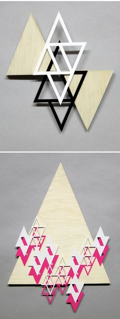 Lovely, neon, geometric laser cut wood & styrene sculptures by Denver based artist Sandra Fettingis.