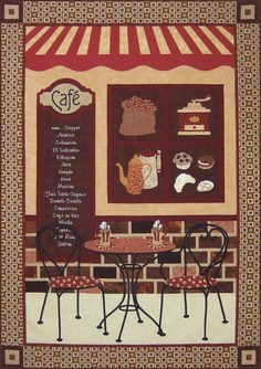 "Coffee Cafe - Victoriana Quilt Designs  Quilt Size: 45"" x 63""  I had such fun designing and making this quilt...and it has become one of my favourites!! This quilt pattern is my ode to coffee, which I personally love, and meeting your friends at your favourite spot."