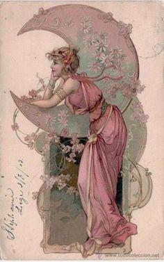 pink green vintage moon illustration