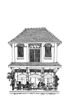 Home Decorating Stores Dallas Key: 2930871499 French Colonial, Spanish Colonial, French Buildings, Building Illustration, House Sketch, Watercolor Images, Colonial Architecture, Indochine, French Cottage