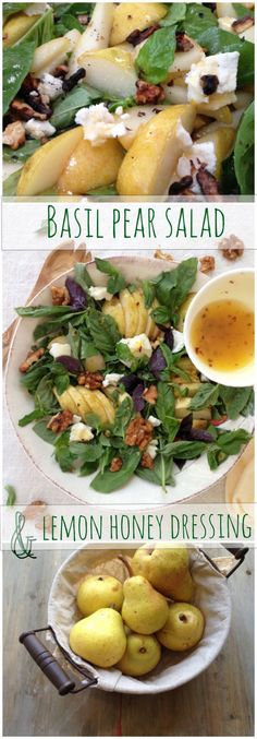 Basil Pear Salad with Goat Cheese & Walnuts in Honey Lemon Dressing Pear_Salad Basil Lemon_Dressing Vegetarian Recipes, Cooking Recipes, Healthy Recipes, Cooking Tips, Lemon Recipes, Salad Recipes, Basil Recipes, Jelly Recipes, Dinner Ideas