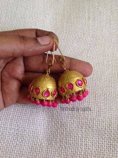 Free picture tutorial available for making a zardosi jhumka in my page www.facebook.com/kalainayam  Paid tutorial available for adding Loreals to the Jhumkas.. Kindly follow the post https://www.facebook.com/kalainayam/videos/1849747905277730/