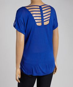 Another great find on #zulily! Royal Lattice Cutout Blouse - Plus by Mine Too #zulilyfinds