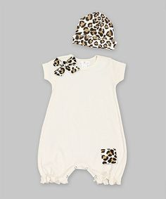 Another great find on #zulily! Ivory & Leopard Bow Romper & Beanie - Infant by Truffles Ruffles #zulilyfinds