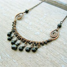 Antiqued Copper with Onyx and Freshwater Black by BearRunOriginals, $26.00