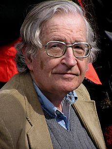 """Noam Chomsky: American linguist, philosopher, cognitive scientist, logician, political commentator and anarcho-syndicalist activist. Sometimes described as the """"father of modern linguistics"""", Chomsky is also a major figure in analytic philosophy."""