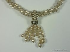 Rousselet Pearl and Rhinestone Necklace from gemgenius on Ruby Lane