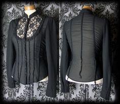 Gothic Black Lace Bib VICTORIAN GOVERNESS High Neck Panel Blouse 8 10 Vintage - £29.00