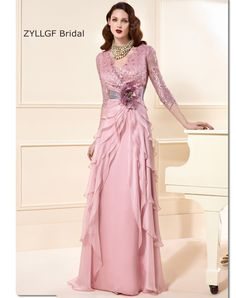 Cheap mother dress, Buy Quality mothers mother directly from China dress mother Suppliers: ZYLLGF Bridal A Line V Neck Mother Of The Bride Dress 2017 Floor Length 3/4 Sleeve Tiered Bottom Mother Dress With Flower SA178