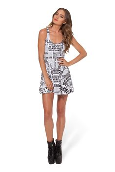 Daily Prophet Reversible Skater Dress › Black Milk Clothing (Size S) Pretty Outfits, Cool Outfits, Pretty Clothes, Harry Potter Outfits, Black Milk Clothing, Clothes Crafts, My Black, Poses, Printed Leggings