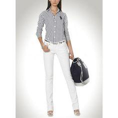 Ralph Lauren Black White Vertical Stripes Mesh Long Sleeved [rl 295] -  $48.82 :