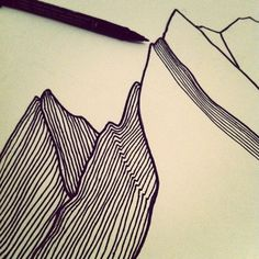 Mountain drawing by Pippa Lynott #illustration #fineliner #sketch