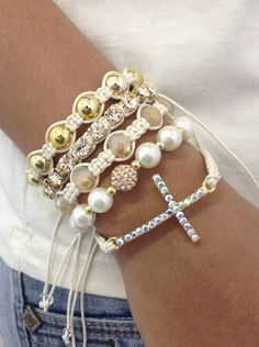 kit bracelet shamballa moda fashion style lifestyle bracelet braceletsjewelry beads friendship