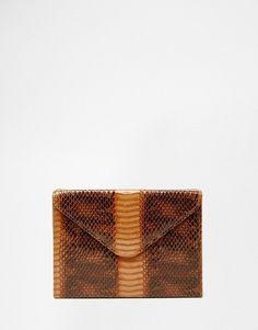 Glamorous Envelope Clutch In Faux Snakeskin