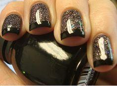 Revlon Perplex base + Nicole for Opi ~ Pitch Black Glimmer on top + Black tips
